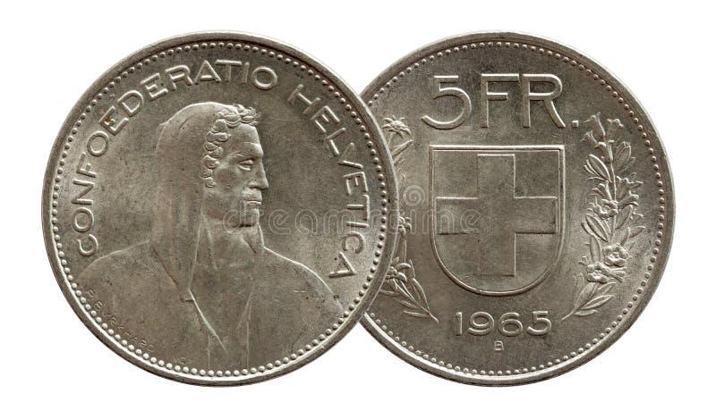 Schweizer M?nze 5 der Schweiz f?nf Silber des Franken 1965 lokalisiert auf wei?em Hintergrund lizenzfreie stockfotos