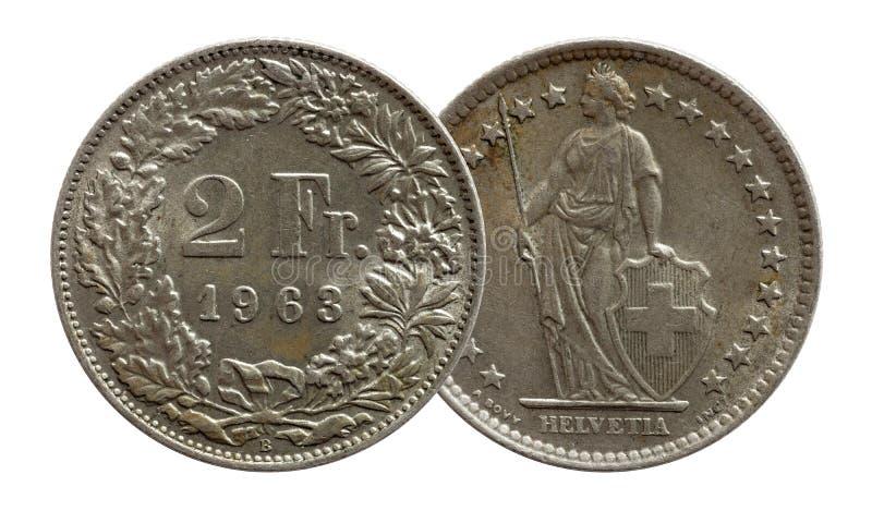 Schweizer M?nze 2 der Schweiz zwei Silber des Franken 1963 lokalisiert auf wei?em Hintergrund stockfotografie
