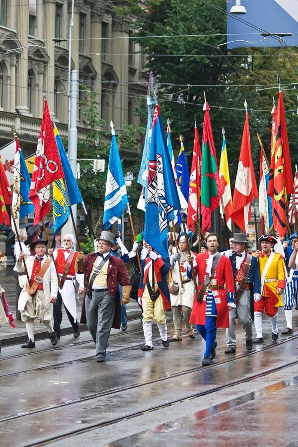 Schweizer Nationaltagparade lizenzfreie stockfotos