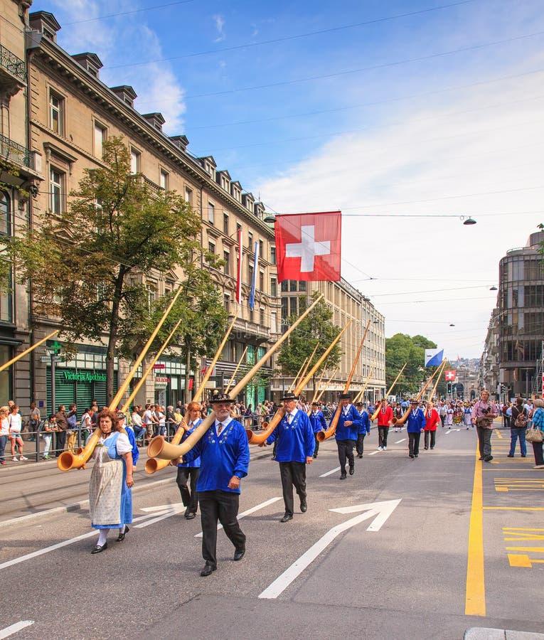 Schweizer Nationaltagparade in Zürich lizenzfreies stockbild