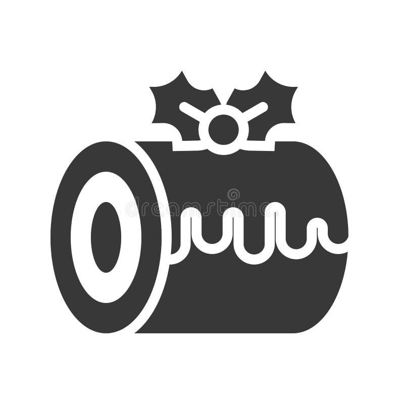 Schweizer Rollenschwammkuchen-Weihnachtsthema verziert mit Mistelzweig lizenzfreie abbildung