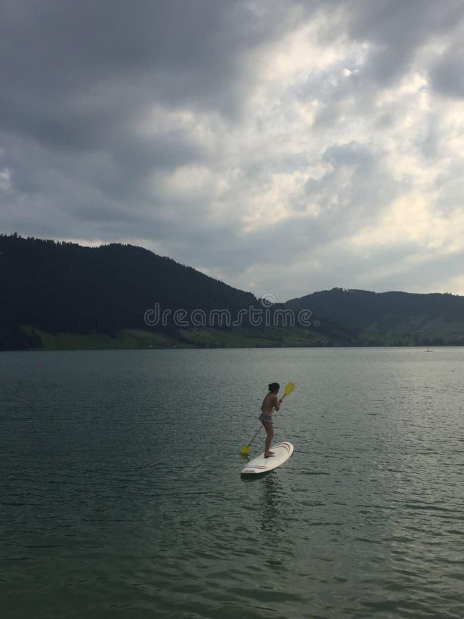 Schweizer See in der Sommerzeit lizenzfreies stockfoto
