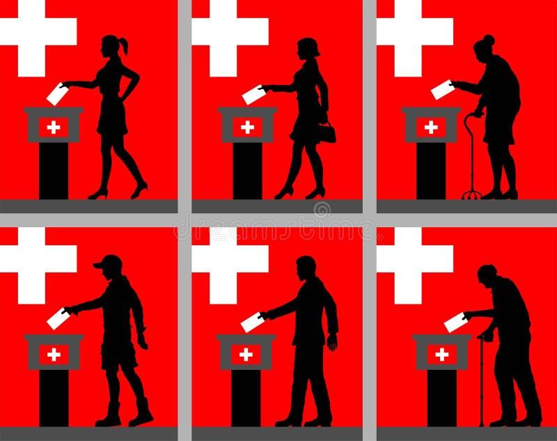 Schweizer Staatsbürger silhouettieren die Abstimmung für Wahl in der Schweiz lizenzfreie abbildung