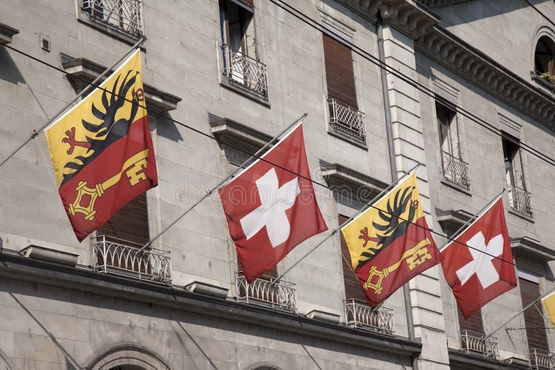 Schweizer Und Waadt-Flaggen, Genf Lizenzfreie Stockfotos