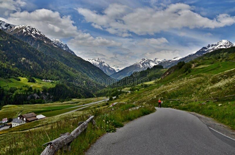 Schweizisk Fjälläng-sikt till vägen på Ardez