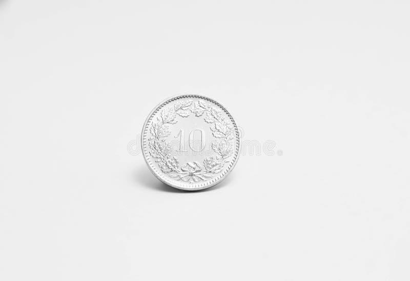 Schweizisk franc en centcentimeCHF som isoleras på vit royaltyfria foton