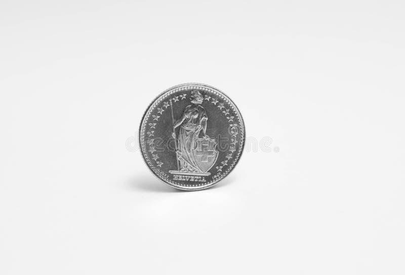 Schweizisk franc en 1 CHF som isoleras på vit royaltyfri foto