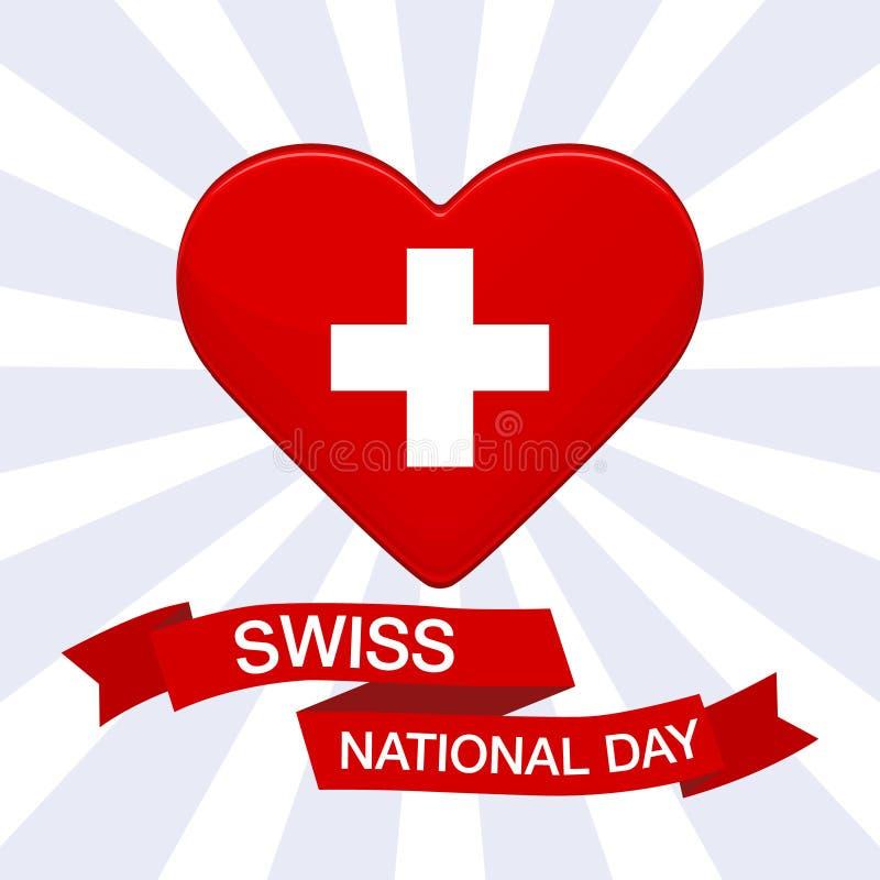 Schweizisk internationell dagbakgrund Hjärta i färger av den Schweiz flaggan Patriotisk vektorillustration med det röda bandet fö royaltyfri illustrationer