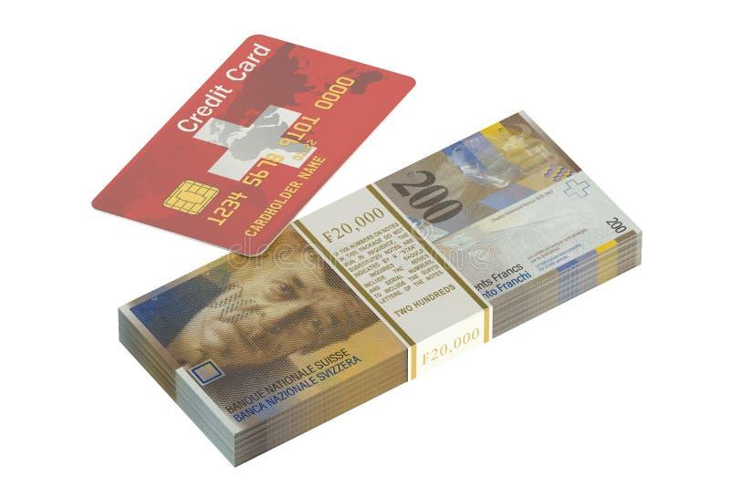 Schweizisk kreditkort och schweizisk franc stock illustrationer