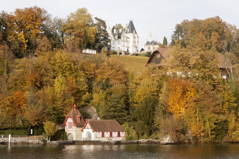 Schweizisk lakefront i nedgången arkivbild