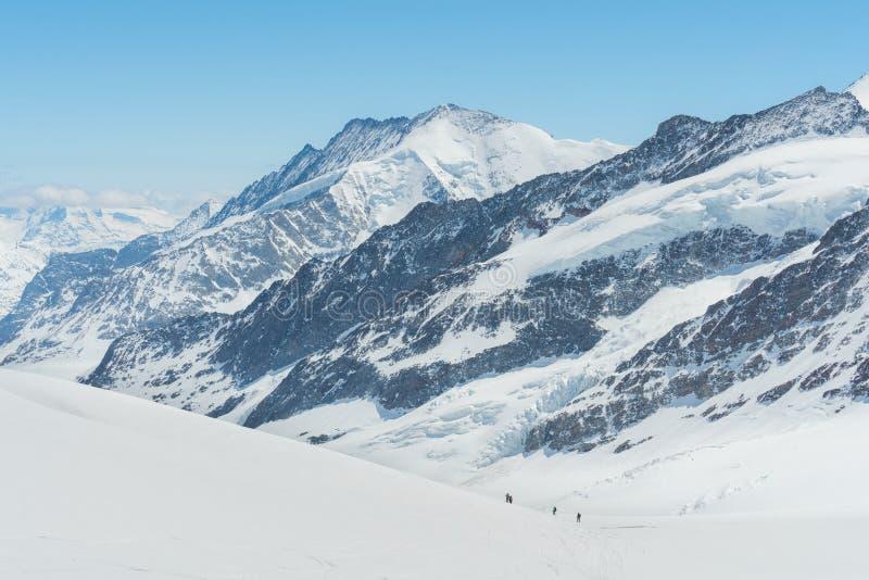 Schweiziskt fjällängbergskedjalandskap mycket av den insnöade vintern, med gruppen av handelsresanden som trekking till toppmötet arkivfoton