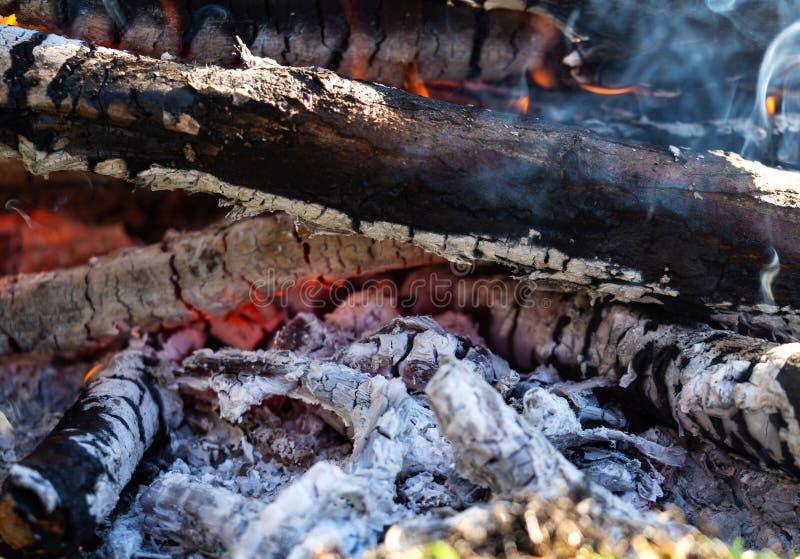 Schwelende Glut des Feuers, Livekohlen, brennende Holzkohle, Makro, Beschaffenheit stockbilder