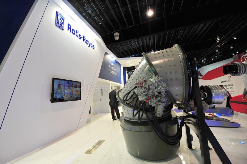 SCHWENKER-Maschinenmodell Rolls Royce Präsentationsin Singapur Airshow lizenzfreie stockfotografie