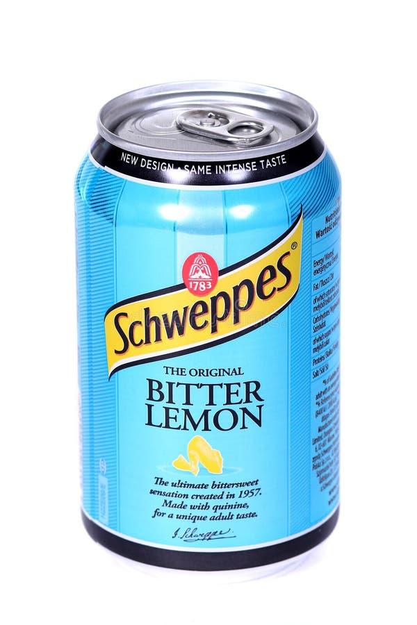 Schweppes带苦味柠檬 免版税库存照片