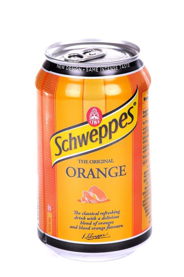 Schweppes apelsin royaltyfria bilder