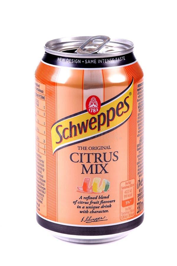 Schweppes citrus blandning royaltyfri fotografi