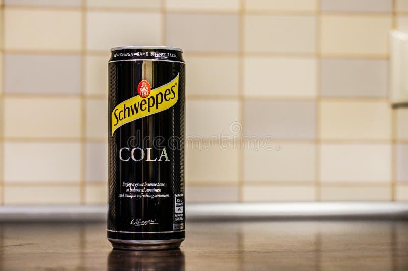 Schweppes cola i en can royaltyfri foto