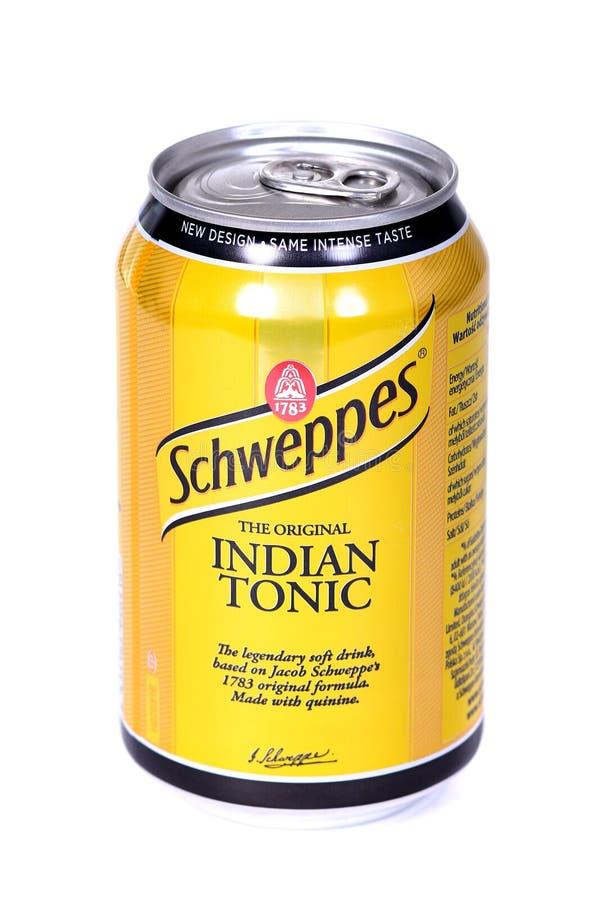Schweppes indisk uppiggningsmedel royaltyfri bild