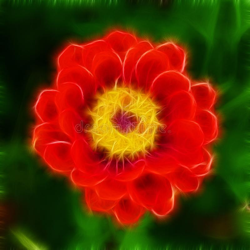 Schwer stilisierte Illustration eines roten Zinnia mit gelber Mitte gegen einen dunkelgrünen Hintergrund lizenzfreie abbildung