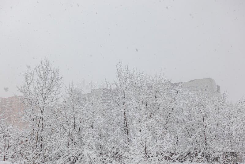 Schwere Schneefälle in der Stadt Straßen, Häuser, Bäume bedeckt mit Schnee lizenzfreies stockbild