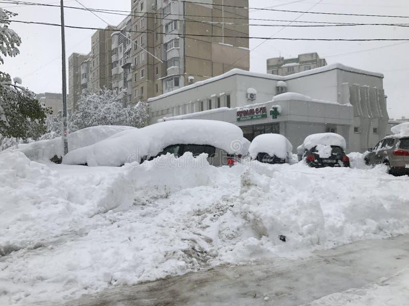 Schwere Schneefälle schlägt Chisinau mitten in Frühling lizenzfreie stockfotografie