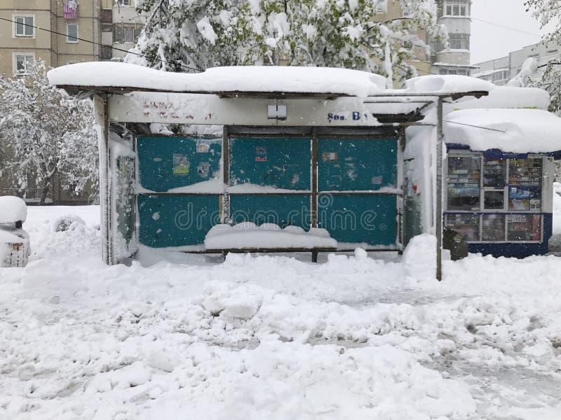 Schwere Schneefälle schlägt Chisinau mitten in Frühling lizenzfreie stockfotos