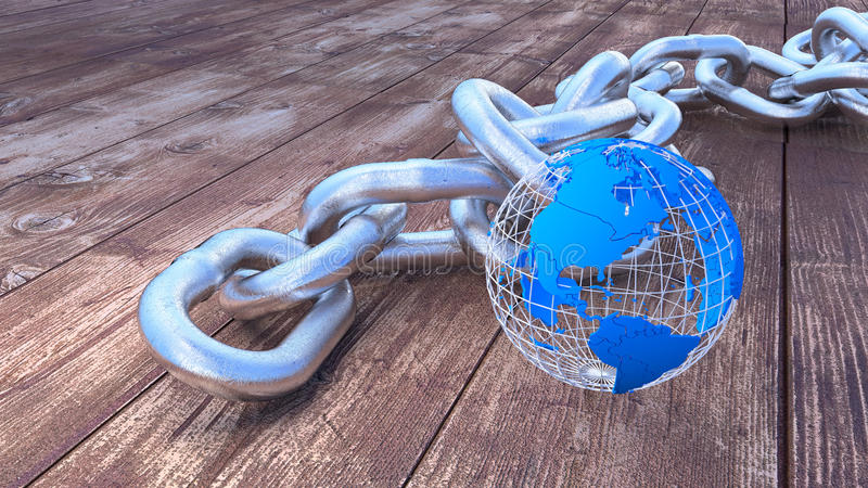 Schwere Silberkette der globalen Sicherheit mit Kugel stock abbildung