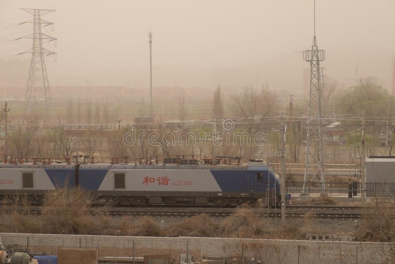 Schwere Smogverschmutzung schlägt Peking, China stockbild