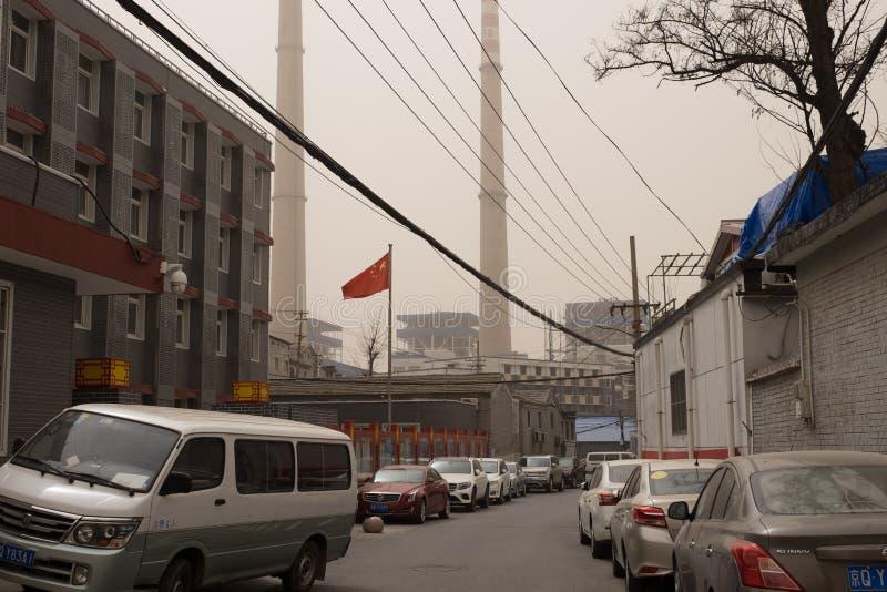 Schwere Smogverschmutzung schlägt Peking, China lizenzfreie stockfotografie