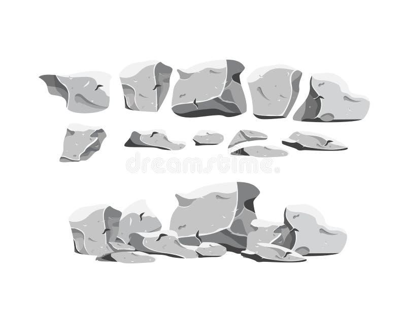 Schwere Steine eingestellt in Karikaturart vektor abbildung