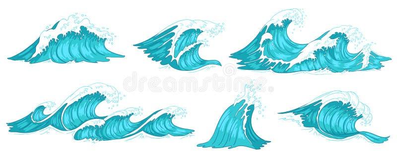 Schwere Wellenabbrüche Weinlesemeereswogen, Gezeiten des blauen Wassers und Flutwellehandgezogener Vektorillustrationssatz lizenzfreie abbildung