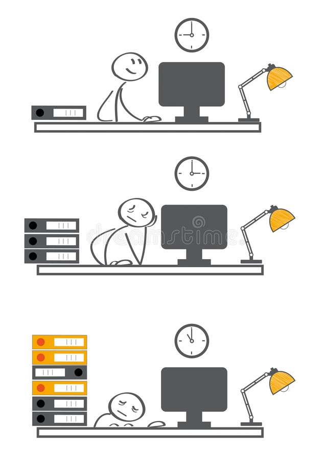 Schwerer Arbeitsbelastungsschlaf des Geschäftsmannes am Schreibtisch vektor abbildung