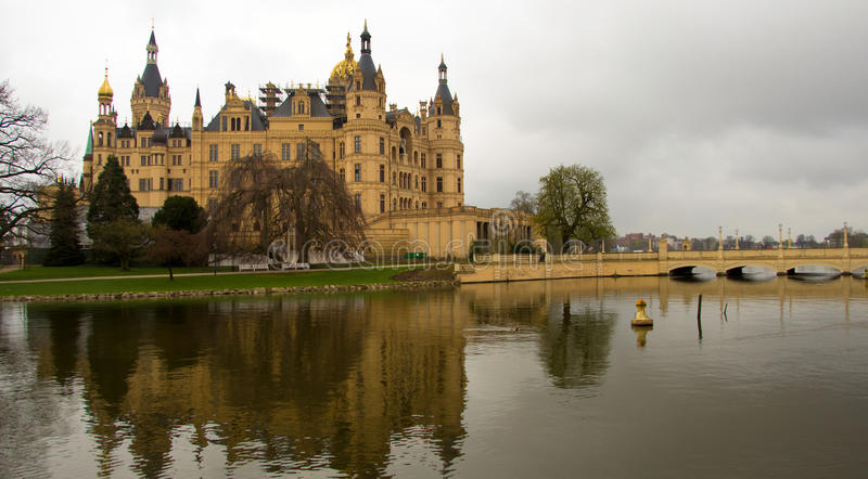 Schwerin Castle in northern germany stock image