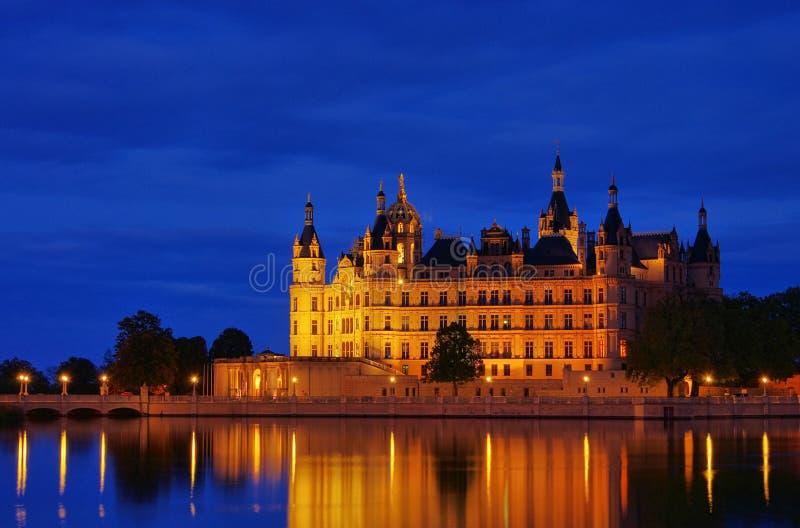 Schwerin pałac noc zdjęcie stock