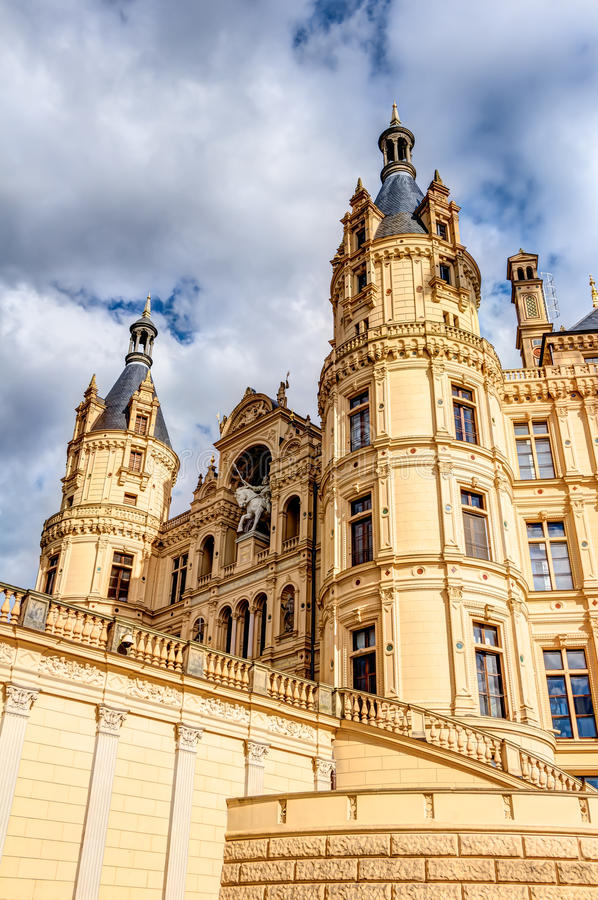 Schwerin Palace in romantic Historicism architecture style. Located in the city of Schwerin, Germany royalty free stock photography