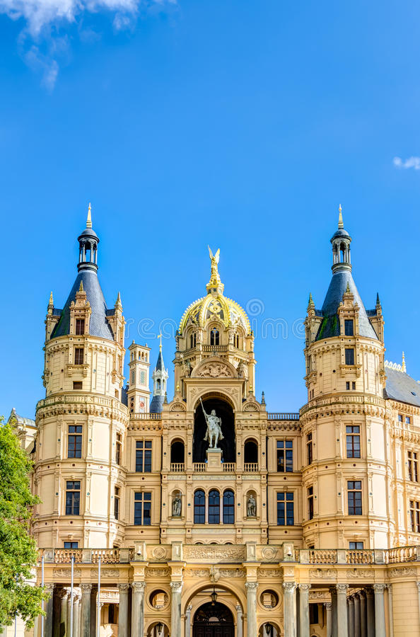 Schwerin Palace in romantic Historicism architecture style. Located in the city of Schwerin, Germany stock image