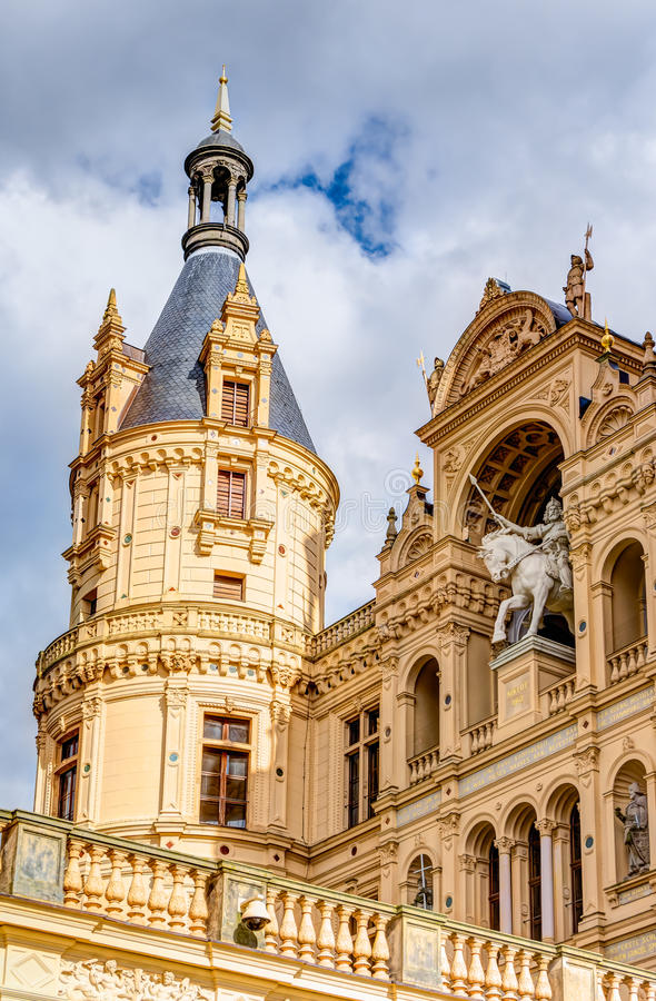 Schwerin Palace in romantic Historicism architecture style. Located in the city of Schwerin, Germany stock photo