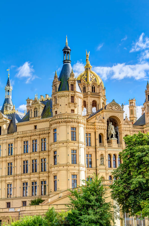 Schwerin Palace in romantic Historicism architecture style. Located in the city of Schwerin, Germany royalty free stock image