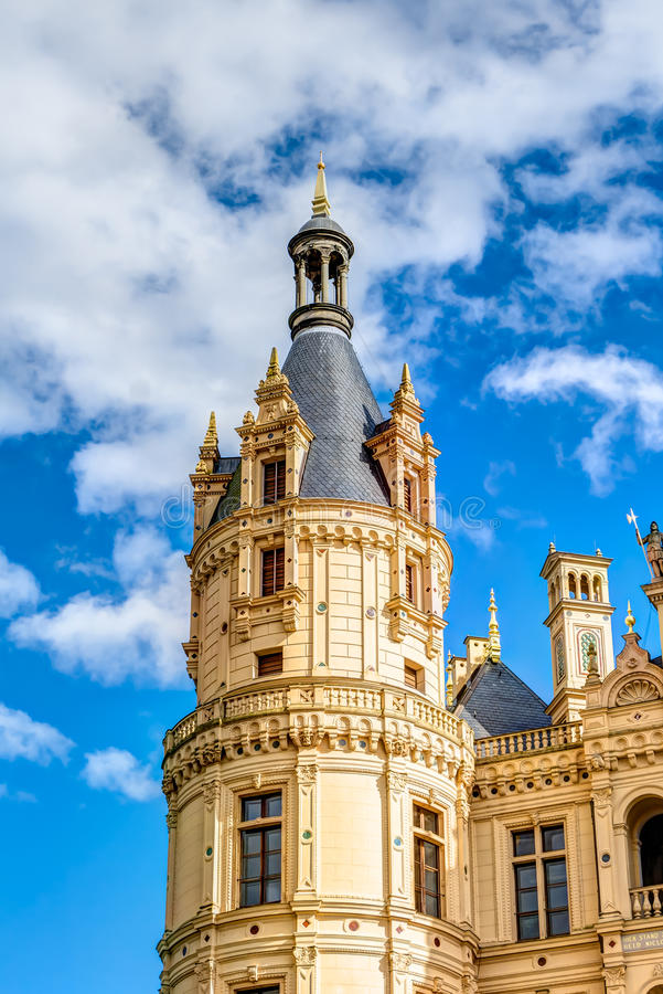 Schwerin Palace in romantic Historicism architecture style. Located in the city of Schwerin, Germany royalty free stock photos