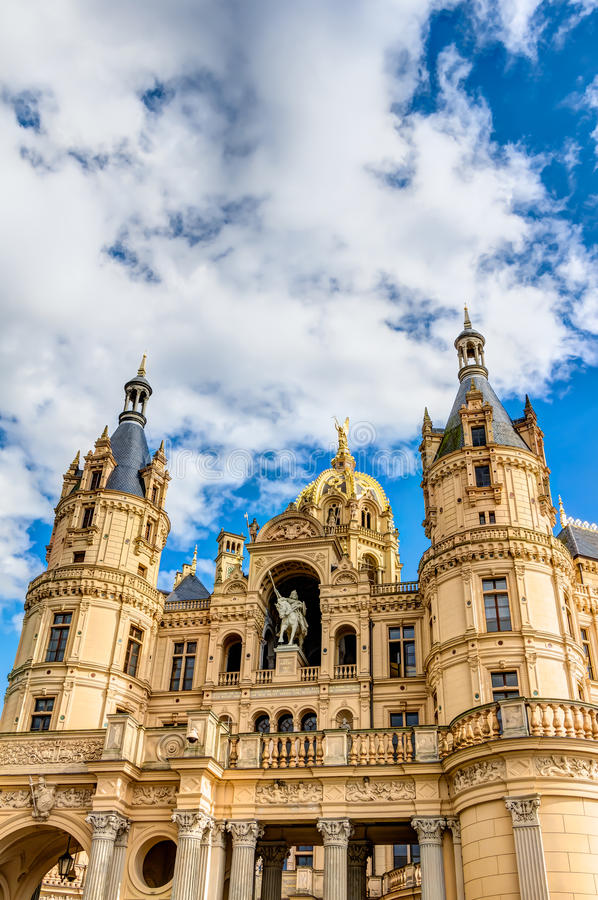 Schwerin Palace in romantic Historicism architecture style royalty free stock photography