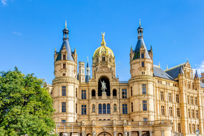 Schwerin Palace in romantic Historicism architecture style. Located in the city of Schwerin, Germany stock photos