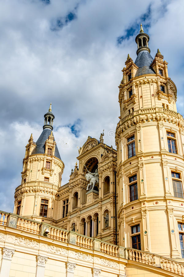 Schwerin Palace in romantic Historicism architecture style royalty free stock image
