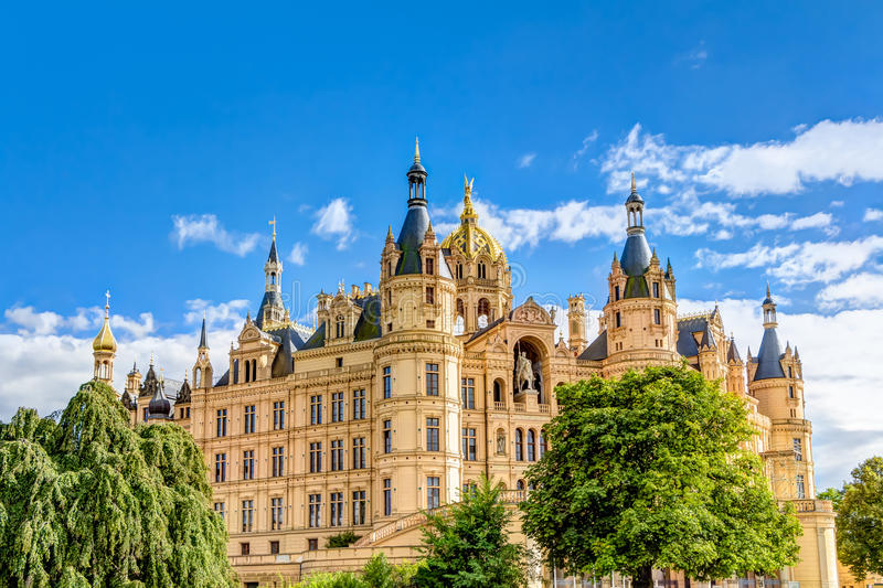 Schwerin Palace in romantic Historicism architecture style stock photography