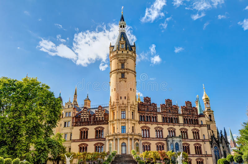 Schwerin Palace in romantic Historicism architecture style stock photos