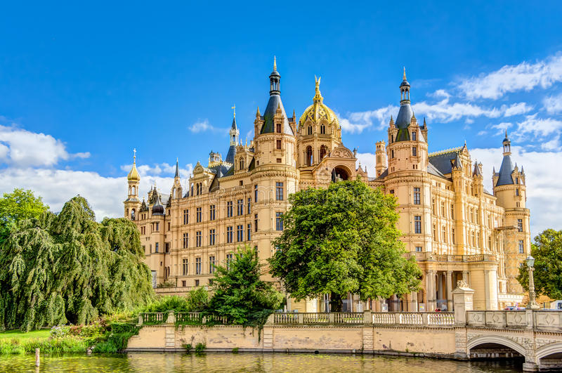 Schwerin Palace in romantic Historicism architecture style. Located in the city of Schwerin, Germany royalty free stock photo