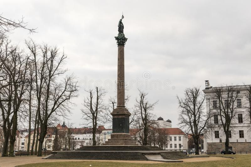 Schwerin Victory Column, Germany. Schwerin, Germany. The Siegesaule Victory Column at the Alter Garden Old Park royalty free stock photo