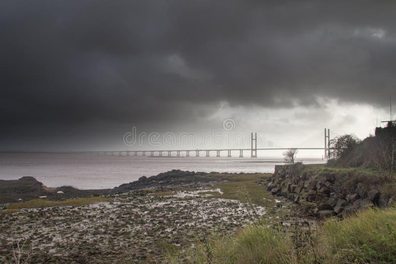 Schwermütige skys Severn Estuary stockbild
