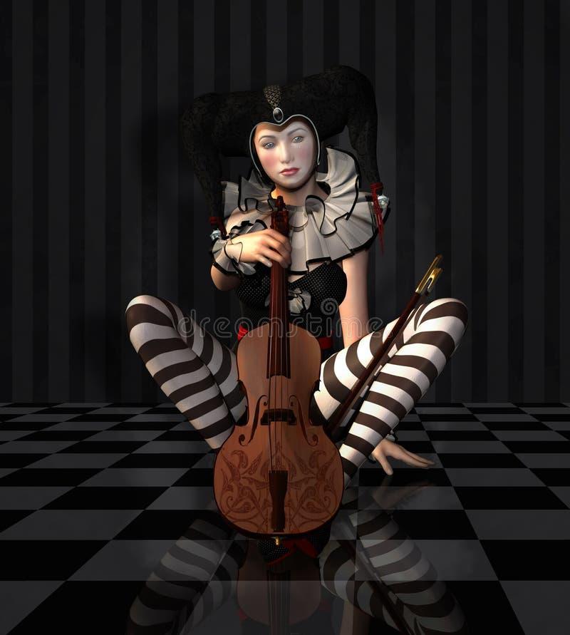 Schwermütiges Pierrot mit einer Violine vektor abbildung