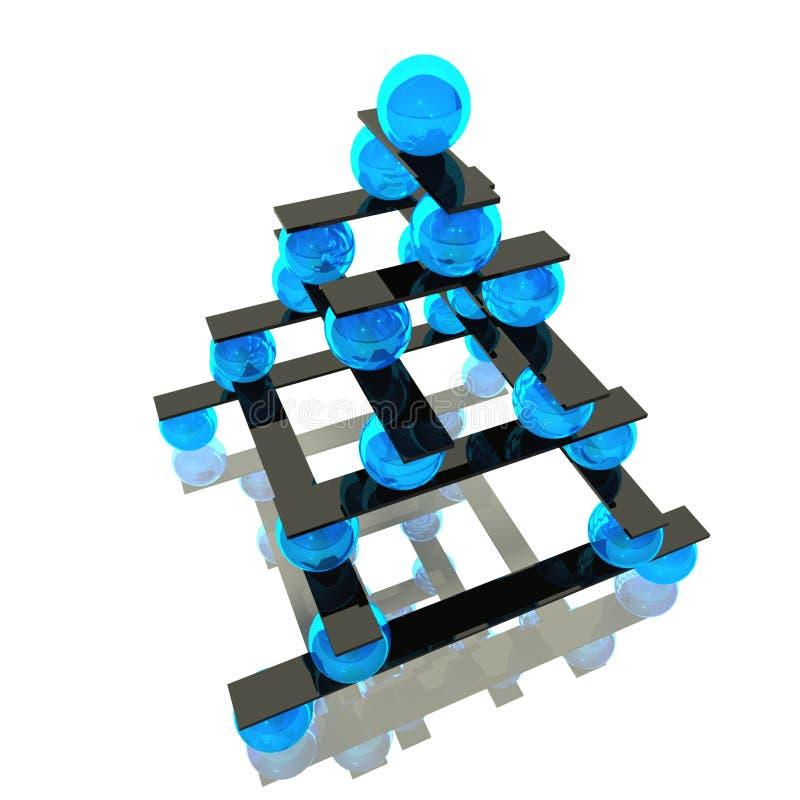 Schwerpunkt der Kugel 3d und Hierarchienkonzept stock abbildung