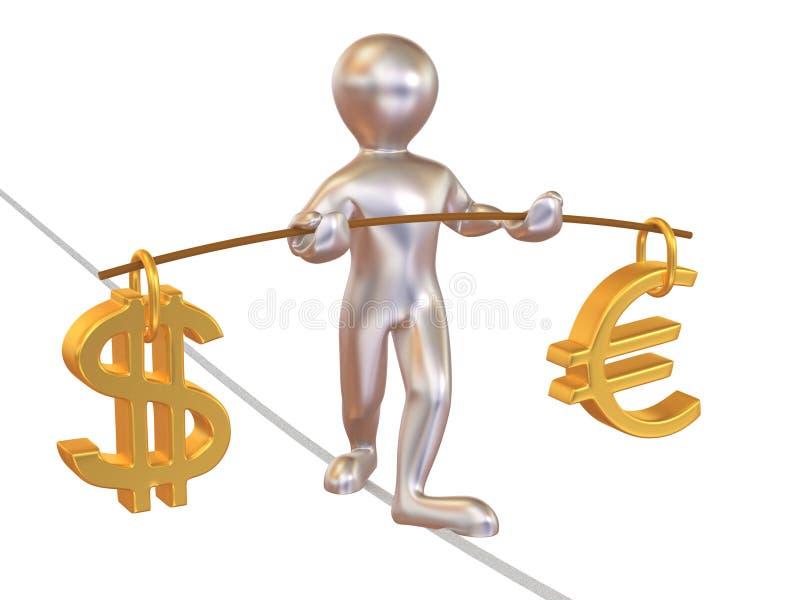 Schwerpunkt des Dollars und des Euro vektor abbildung